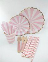 Wholesale Christmas Party Paper Plates - Wholesale-Free Shipping!!! Baby shower Pink Scalloped foil gold eadge Paper Plates Pink Kid's party paper tableware for wedding Christmas