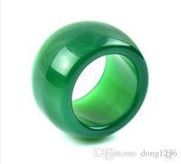 Wholesale jade rings carvings - Natural agate ring couple models men and women gamblers ring chalcedony green jade ring