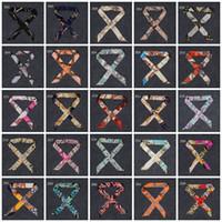 Wholesale Cheap Ribbon Band - 2017 New Cheap Twilly 50 Colors Fashion Print Handbag Twillys Bags Handle Wrap Silk Scarves Hair Bands Small Ribbon