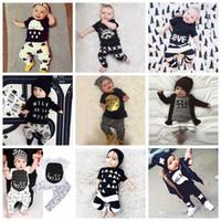 Wholesale Boys Batman Tops - Baby Ins Clothing Sets Kids Baby Boys Girls Outfits Clothes T-shirt Tops Pants Summer Outfits Batman Letter T Shirts Pants 2PCS Set F453