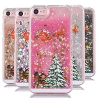 Para iphone 8 7 Fashion Christmas Trees 3D Dynamic Glitter Stars Liquid Quicksand Hard Phone Back Case Cover para 5 SE 6 Plus SCA337