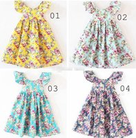 Wholesale Cute Suspender Skirts - INS Kids vintage flower floral beach dress cute baby summer backless halter skirt cherry lemon cotton backless dress 12colors BJ 01