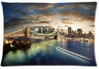 Wholesale Bridge Pattern - 2pcs Custom Brooklyn Bridge at Night Pattern Zippered Cotton Polyester Pillow Case 20x30 (Twin sides)