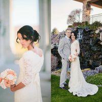 Wholesale Simple Lace Sheath Wedding Dress - 2016 Romantic Jewel Lace Beach Wedding Dress With 3 4 Sleeve Elegant Modest White Boho Bohemian Bridal Gown Vestidos De Noiva