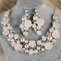 Elegant Imitation Pearl Rose Bridal Jewelry Sets Shine Crystal Ensemble bijoux africains pour femmes Wedding Bridals Jewelry Factory Wholesale