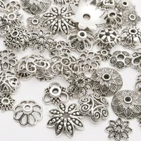 Wholesale Ends Zinc Alloy - 130pcs lot Zinc Alloy Antique Silver plated color Bead Caps Fit Jewelry Findings Making End Caps 4-15mm