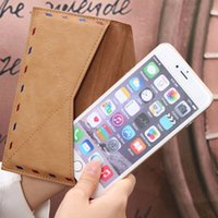 Wholesale Envelope Leather Wallet Iphone Cases - New Unique Envelope Phone Bag Case Wallet For iPhone 5 5s 6 6s Plus SE Mobile Phone Protector Cover Housing Accessory