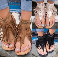 Wholesale best sewing - Size 36-44 sexy women sandals tassel fashion gladiator flat sandals rhinestone women summer shoes woman slip on best quality