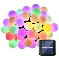 Wholesale indoor white christmas lights - Solar Outdoor String Lights 21ft 50 LED Waterproof Ball Light Christmas Lights Solar Powered Starry Fairy String lights for Garden, Patio,