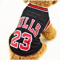 Wholesale Dog Shirt Large - Spring and summer fashion Basketball uniform pet dog clothes Breathable vests mesh for teddy dog clothes