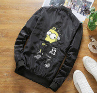 Wholesale Large Black Jacket - 2017 spring and autumn label cartoon jacket men's large size thin section of the youth jacket fashion casual men factory direct sales work f