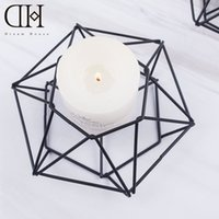 Wholesale DH geometry metal candle holder party decoration candlestick wedding gold candelabra tea light holder wrought iron candle holders