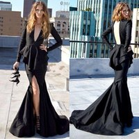 Wholesale Deep V Neck Open Backless - Modest Front Split Dress Evening Wear Black Satin Mermaid Party Cocktail Gowns Sexy Deep V Neck Open Back Prom Dress Cheap Price