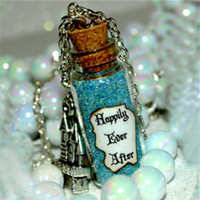 Wholesale Ever After - 12pcs Something Blue, Happily Ever After Magic Magical glass Bottle Necklace with a Castle Charm Inspired necklace
