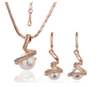 Wholesale Pearl Gift Jewelry Prices - Whole Sale Price 18K Gold Plated White Simulated Pealr Necklace Earrings Jewelry Sets for Women Made With Swarovski Elements Wedding Sets