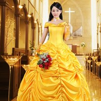 Wholesale Belle Beauty Beast Costumes Adults - New Adult Beauty and the Beast Belle Angelaicos Womens Layered French Maid Show Dress Gloves Cosplay Costume