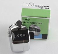 contador de números manual venda por atacado-Contador de mão mecânico manual do curso do golfe do Clicker do registro manual do número de 4 dígitos