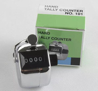 contador manual de números al por mayor-Número de 4 dígitos Manual Handheld Tally Mechanical Clicker Golf Stroke Hand Counter