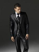 Wholesale Mens Shiny Gray Pants - New Arrival Shiny Black Groom Tuxedos Notch Lapel Man Blazer Mens Prom Dress Suits (Jacket+Pants+Vest+Tie) NO:2900