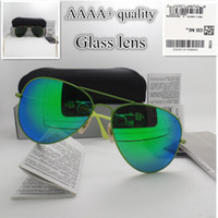 Wholesale colorful eye glass frames for sale - Group buy High quality Glass lens Colorful frame Fashion Men and Women Coating Sunglasses Brand Designer Vintage Sport Pilot Sun glasses With box