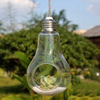 fischpflanzer großhandel-2017 neue Glasbirne Lampe Form Blume Wasserpflanze Hängen Vase Hydroponischen Behälter Topf Home Office Hochzeit Decor