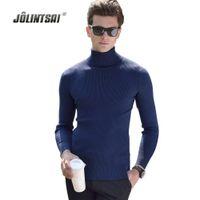 Wholesale Men S Cashmere Turtlenecks - Wholesale- Black Wool Turtleneck Sweater Men Slim Fit Solid Men Knit Cashmere Pullovers And Sweaters For Men Plus Size 3XL Sueter Hombre