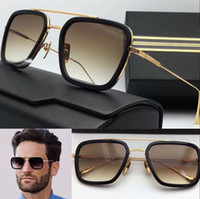 Wholesale square sunglasses - new logo sunglasses flight square frame coating mirror lens gold plated men brand designer UV400 lens retro style top quality