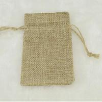 Wholesale Burlap Sacks - 7*9CM Double Layer Natural Linen Drawstring Bags Jute Gift Package Wedding Favor Holder Burlap Pouches Hessian Bags Mobile Power Sack Bags