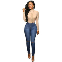 Wholesale Sexy Slim Butt - Wholesale- Sexy Women Elastic Butt Lift High waisted Casual Denim Ripped Holes Skinny Jeans Slim Pencil Pants