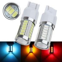 ingrosso lampadine a led per luce inversa-2 pezzi ad alta potenza T20 7443 7440 W21 / 5W 33 SMD 5630 5730 auto luci led indicatori di direzione freno luci posteriori 33SMD auto retromarcia lampadine