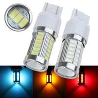 intermitente led amarillo al por mayor-2 UNIDS de Alta Potencia T20 7443 7440 W21 / 5 W 33 SMD 5630 5730 Coche Led Luces de Señal de Voltaje Lámparas de Cola de Freno 33SMD Auto Rear Reverse Bulbs