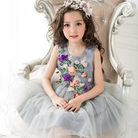 Wholesale Enfant Lace Dresses - Girls Party Dress Leaves Appliques Elegant Purple Tulle Children Kids Dresses for Girls Wedding Clothes robe fille enfant 3-8T