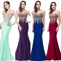Wholesale Sexy Designer Red Dresses - Under 40 Cheap In Stock Burgundy Black Mermaid Prom Dresses 2017 Appliques Long Vintage Evening Gowns Floor Length Party Gowns CPS262