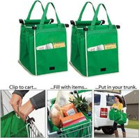 Wholesale Portable Shopping Trolley - Wholesale- 2017 Reusable Large Trolley Clip-To-Cart Supermarket Shopping Bags Portable Cloth Bag Foldable Green Tote Bags