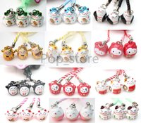 Wholesale Maneki Neko Charms - Factory direct selling 100 pcs Various Color Cute Maneki Neko Lucky Cat Bell Mobile Cell Phone Charm.