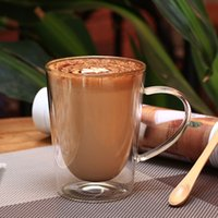 Wholesale Coffee Mugs Sale Free Shipping - Free shipping hot sale double wall vacuum cup insulated glass transparent coffee mug with handle wholesale