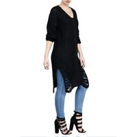 Wholesale Cut Out Knit Sweater - New Arrival Winter Autumn Women Sweater Sexy Full Sleeve Solid Loose Cut Out Split Sweater Knitted Pullover Long Sweaters M L XL WT73033
