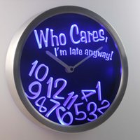 Wholesale Neon Led Wall Clock - Wholesale-nc0465 Who Care I'm Late Anyway Bar Beer Gift Decor Neon LED Wall Clock
