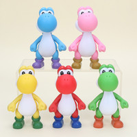 Wholesale Red Yoshi Action Figure - 5'' PVC Super Mario Bros Yoshi Figure Action Yellow PINK Red Green Blue action figure model toys kids gifts