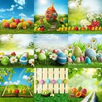 подсолнечник оптовых-Оптовая пользовательские 5x7ft подсолнухи blossosms пасхальные яйца камеры для детские фотографии винил фон цифровой студии фотографии реквизит