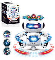 Wholesale white robot toy - 2017 manufacturers selling children's electric toys Hyun dance robot rotating light music explosion models HB007-1 20cm