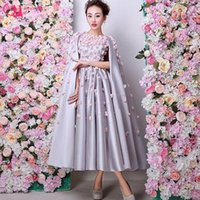 Wholesale Ladies Evening Dress Size 16 - Double 11 New Arrival Special Occasion Evening Dress Designer Fashion Tea Length Dress Ladies With Cape Back Silver Satin