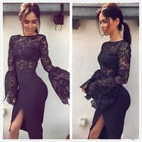2018 New Black Sheer Lace Sheath Prom Коктейльные платья Scoop Neck Long Sleeves Front Split Knee Length Party Evening Prom Dresses Custom