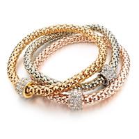 metallplatte kettenarmband großhandel-2017 hochzeit Gold Überzogene Armbänder Armreifen Armband für Frauen Metallkette Armband Modeschmuck 3 teile / los