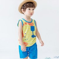 Wholesale Toddler Tank Wholesale - Crab Baby Boys Outfits Summer Cotton Toddler Clothes Sets Cute Cartoon Printed Tank Tops + Shorts 2pcs Suits Children sportswear C984