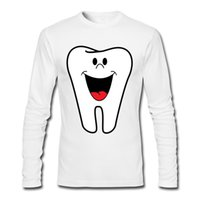 Wholesale Mouth Teeth Smile - Top-Men New Cotton T-shirt Long Sleeve Casual Funny Tooth With Smile Mouth Shirt Unique Design Tee Shirts