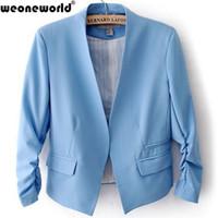Wholesale Coats For Women Korea - WEONEWORLD 2016 Summer Spring Korea Women Candy Color Solid Slim Three Quarter Sleeve Suit Jacket Blazer Coats For Female S-XL