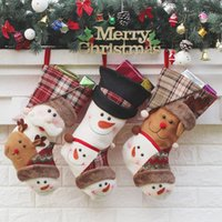 Wholesale Old Christmas Stockings - 2017 Creative Christmas gifts of High - grade cloth art the old hang Christmas gift decoration Christmas stockings