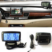 Wholesale Digital Temperature Inside Outside - HOT 2In1 Car Kit Electronic Clock Thermometer Digital Display Inside And Outside Dual Temperature Measuring Tool With Backlight