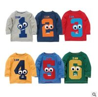 Wholesale Boys Shirt Christmas - Kids Long Sleeve T Shirt FAll Winter Boys and Girls Cotton Animal Figure Printed Casual Tops Elephant Monkey Dinosaur Kids Clothes Outerwear